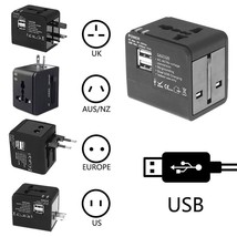 Universal Travel Electrical Adapter Dual 2.1A USB Plug International UK ... - $10.36