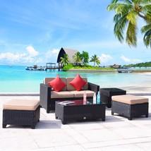 5 PC Wicker Rattan Furniture Sofa Cushioned Patio Lawn Loveseat Sectiona... - $349.99