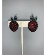Vintage Rhinestone Raspberry Clip On Earrings (1764) - $35.00