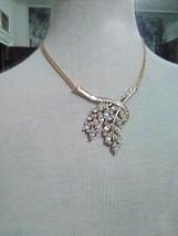 Vintage Necklace Graceful Golden Spray Has Rhinestones Sparkling Accent - $55.00