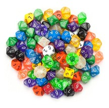 translucent polyhedral dice, Wiz Dice 100 Colorful D10 polyhedral dice a... - $38.99