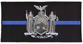 Thin Blue Line New York State Flag Embroidered Iron-On Patch For Law Enf... - $6.88