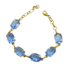 Blue Gold Plated Glass fine Blue Shappire CZ handcrafted Bracelet AU gift - $22.73