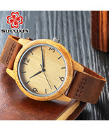 SIHAIXIN Bamboo Wooden Watch Male Minimalist Roman Quartz Watch For Wome... - $32.50