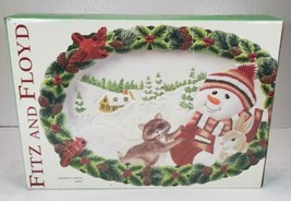 Fitz and Floyd Woodland Snowman Large Platter NEW in Box  - $69.99