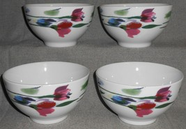 Set (4) MIKASA Gourmet Basics WATERCOLOR GARDEN PATTERN Soup or Cereal B... - $49.49