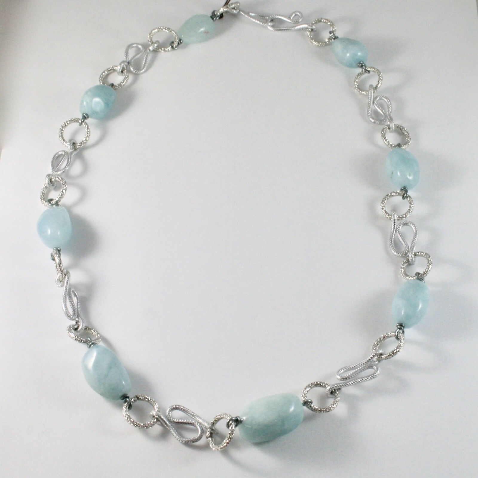 Necklace the Aluminium Long 60 Inch with Aquamarine Blue Blue