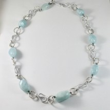Necklace the Aluminium Long 60 Inch with Aquamarine Blue Blue image 1