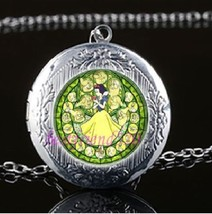 Disney Princess Stain Photo Locket Glass Cabochon Silver Necklace Free Gift Bag - $6.59