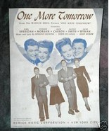 One More Tomorrow - A Warner Bros. Picture 1945 Sheet Music - $3.95