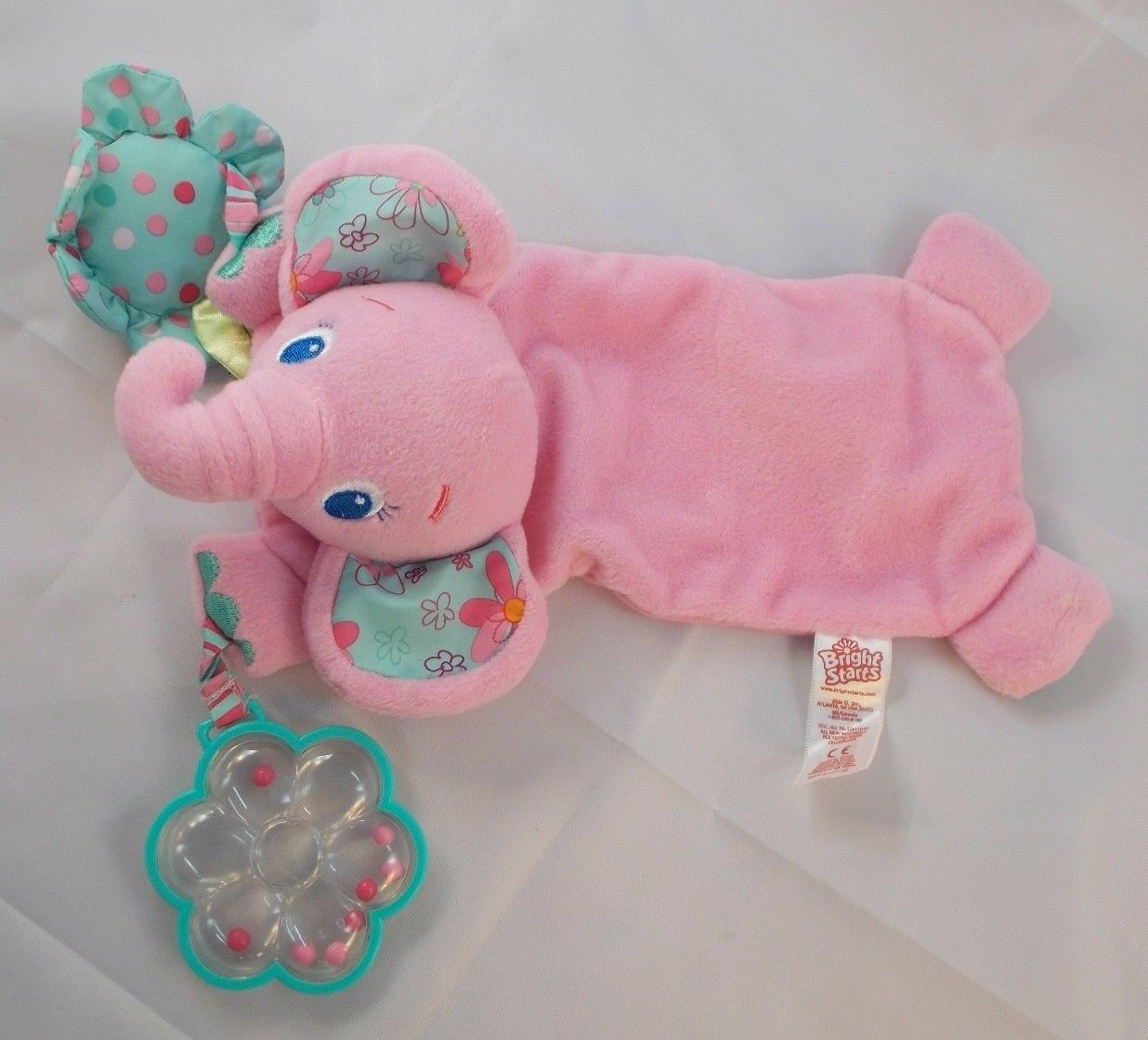 Primary image for Bright Starts Pink Elephant Lovey Rattle Toy Stuffed Animal toy