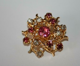 Coro Vintage Gold Tone Pink & Clear Crystal Brooch Pin J331 - $18.00