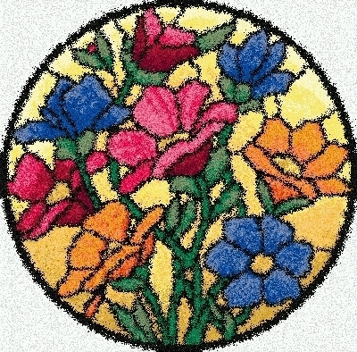 Latch Hook Rug Pattern Chart: STAINED GLASS FLOWERS   EMAIL2   $5.75