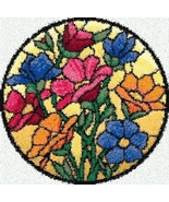 Latch Hook Rug Pattern Chart: STAINED GLASS FLOWERS - EMAIL2 - $5.75