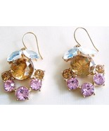 J Crew Heirloom Flora Crystal Earrings Gold Sparkle Wedding Bridesmaid P... - $23.00