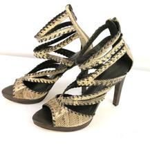 BCBG Maxazeria Snakeskin Stiletto Heels Sz 8 Back Zip Ankle - $39.99
