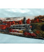 Hand Painted Handsaw Train With Oils Custom Order Wall Hanging Home Deco... - $450.00