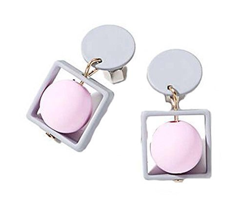 European Style Square Temperament Earrings Asymmetric Earrings,Gray
