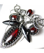 The Red Queen Necklace - Garnet, Black Spinel a... - $438.00