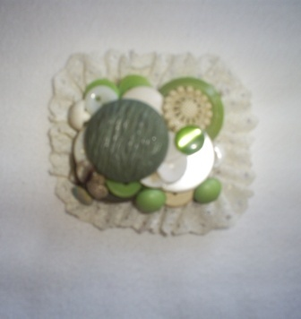 Vintage Green Button Brooch, Handcrafted, New