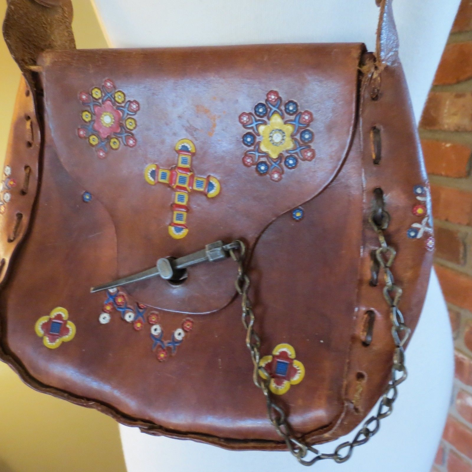 43813b46a5 Vtg 70s Hippie Boho Leather Tooled Flower and 14 similar items