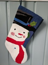 Snowman Christmas Stocking Blue Felt Back Lined Holiday Xmas Modern Cont... - $14.50