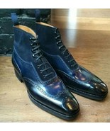 Handmade Bespoke Navy Black Ankle High Leather Boots, Lace up Stylish Boots - $139.00+