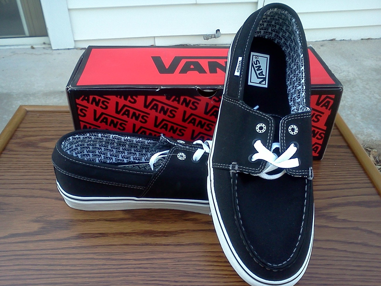 VANS Hull black/white/white Size 12, New, VANS Shoes for Men, Black Vans