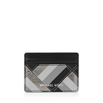 NWT Michael Kors Women's Marquertry Patchwork Leather Card Case, Black - $43.76