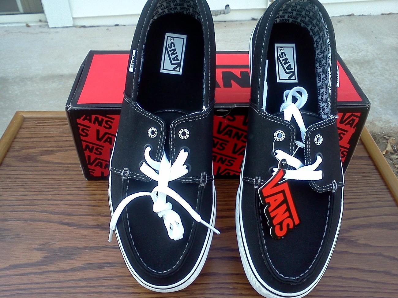 VANS Hull black/white/white Size 12, New, VANS Shoes for Men, Black Vans