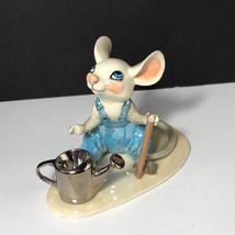 HAGEN RENAKER MOUSE FIGURINE Mice porcelain farmer coveralls watering ca... - $34.65