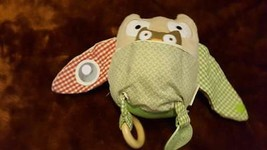 PLUSH POTTERY BARN KIDS OWL INFANT ACTIVTY TOY, TEETHER, CRINKLE, MIRROR... - $4.94