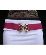 Damen Elastischer Hüfte Taille Pink Schmal Mode Dünner Gürtel Goldschleife - $20.15