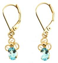 Vintage 14K Gold CID 17 CTTW Blue Topaz Wire Filigree Lever Back Earring... - $176.39