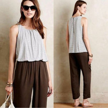 Anthropologie Elevenses Priya Gray Striped Brown Jumpsuit Size S - $25.74