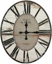"Wall Clock 29"" 2.5' Large Wooden Distressed White Rustic Shabby Chic Far... - $229.00"