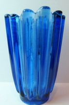 Blue Fostoria Glass Vase Vintage - $35.72