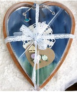 "Heart Shaped Junk Journal ""Sailing"" Wood Storage Box - 7.5"" x 6.5"" x 1"" ... - $51.43"