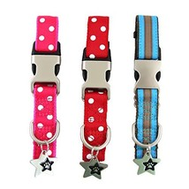 Cute Dog Collar | Large Dog Collar - Red & Pink Polka Dots, Blue Stripes... - $23.31