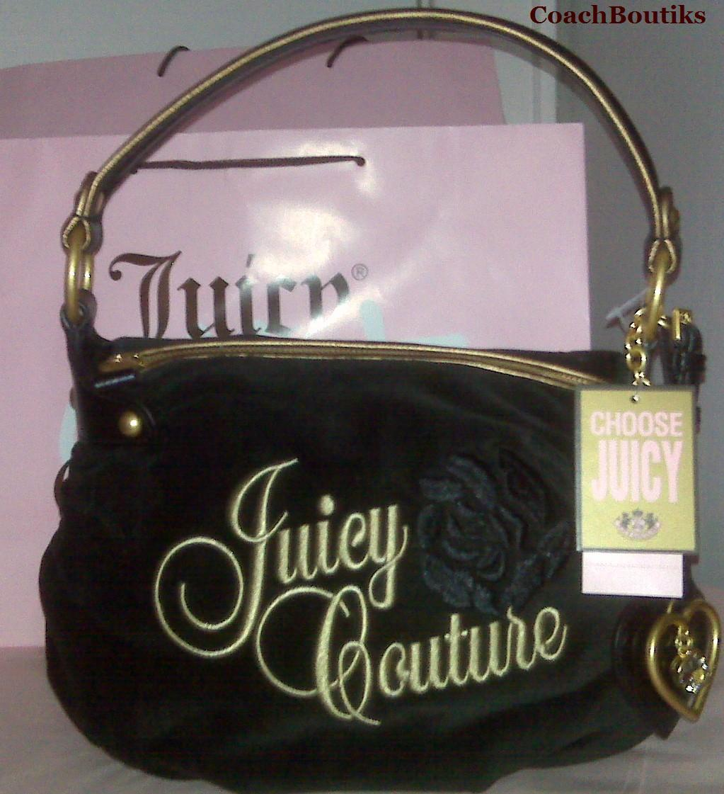 "Juicy Couture ""No Drama"" Velour Black Satchel Nardels NWT YHRU 1770"