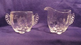 """Vintage Glass Creamer & Sugar Set w/ Etched Flowers Approx 3"""" Tall 2.5"""" D - $21.56"""