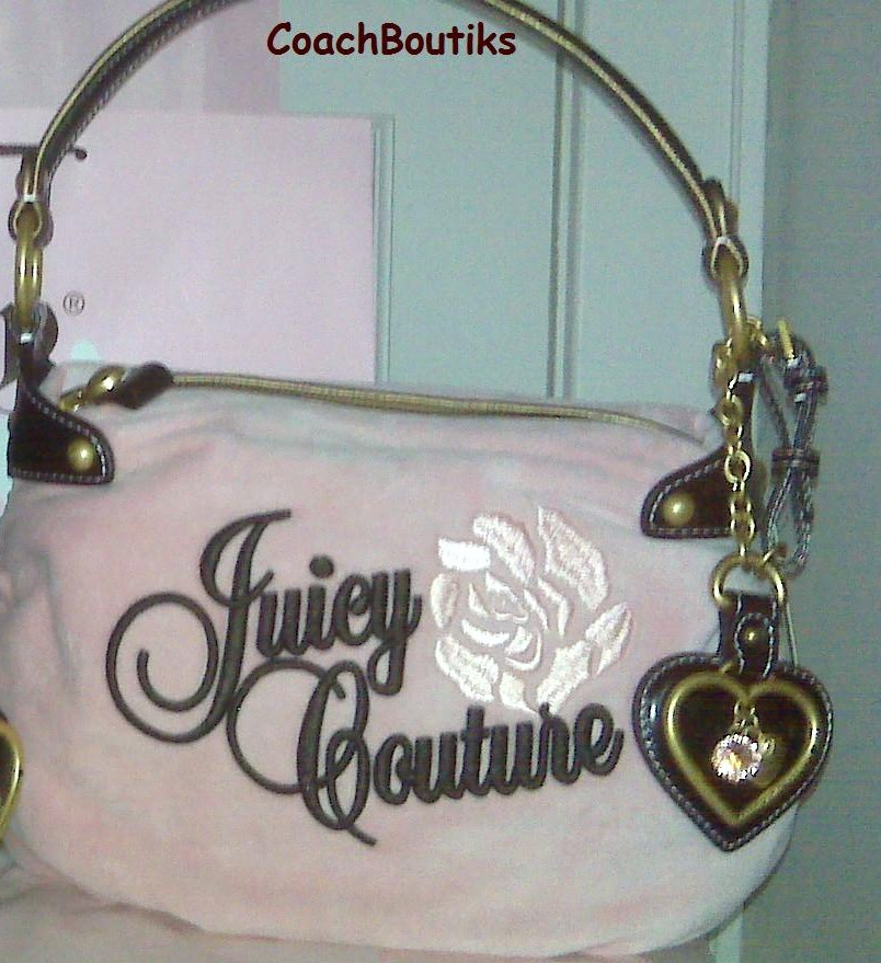 "Juicy Couture ""No Drama"" Velour Pink Satchel Nardels NWT YHR"