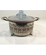 Vintage Ohio 153 Baking Casserole With Blue Glass Lid & Silver Stand - $29.99