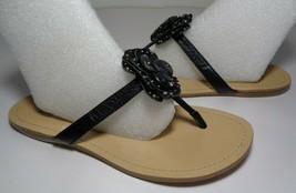 Nine West Size 7 M TISHA Black Leather Sandals New Women's Shoes - $38.61