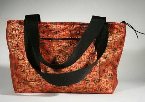 Red Swirls Liberty Tote Purse Handmade Unique Handbag Red Gold Black Handles