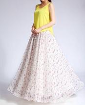 Summer MAXI Floral SKIRT Women White Flower Maxi Chiffon Skirt Long Beach Skirt image 6