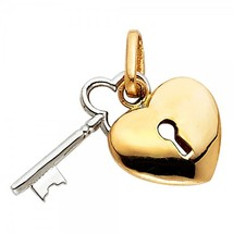 14K Two Tone Gold Key to my Heart Pendant - $129.99