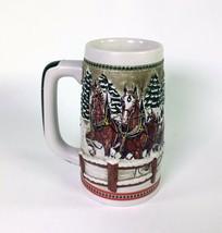 Budweiser Clydesdale Horses Holiday Beer Mug Stein Ceramarte Brazil 6 1/... - $18.76