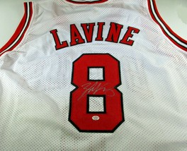 ZACH LAVINE / AUTOGRAPHED CHICAGO BULLS WHITE CUSTOM BASKETBALL JERSEY / COA image 1