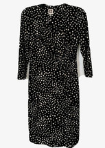 Anne Klein Black/White Polka Dot Long Sleeve Polyeste/Spandex Dress 4 - $8.66